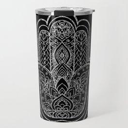 Silver Lotus Hamsa Hand Travel Mug
