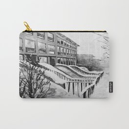 Brooklyn New York in Snow Storm Black and White Carry-All Pouch