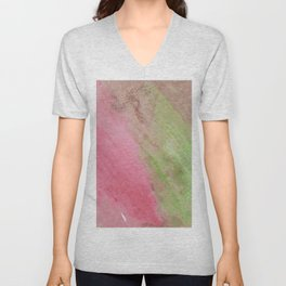 Abstract pink green watercolor ombre brushstrokes Unisex V-Neck