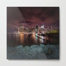 MANHATTAN SKYLINE Evening Atmosphere in New York City Metal Print