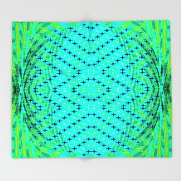 FLUX #3  Optical Illusion Vibrant Colorful Psychedelic Trippy Design Throw Blanket
