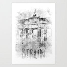 Monochrome Art BERLIN Brandenburg Gate | Watercolor Art Print