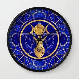 Triple Moon - Goddess -Lapis Lazuli and Gold Wall Clock