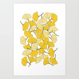 ginkgo leaves (yellow) Art Print