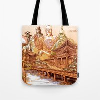 korean Tote Bags featuring Korean Travels by Lundy