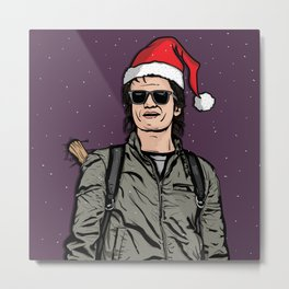 Snowy Santa Steve Metal Print
