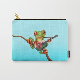Tree Frog Playing Acoustic Guitar with Flag of Wales Carry-All Pouch