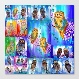 Owl with Bright Colors Canvas Print