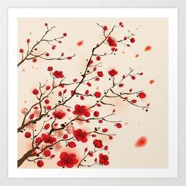 Oriental plum blossom in spring 006 Art Print