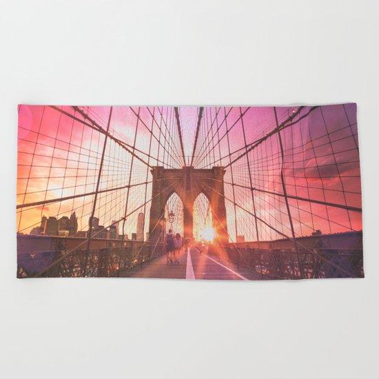 New York City Brooklyn Bridge Sunset Beach Towel