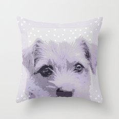 Curious little dog waiting for you - funny dog portrait Throw Pillow
