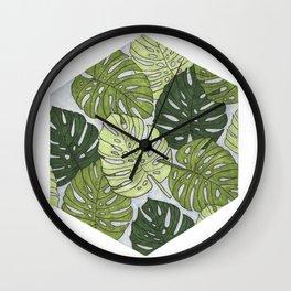 Monstera Hexagon Pattern Wall Clock