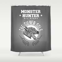 monster hunter Shower Curtains featuring Monster Hunter All Stars - The Silver Sols by Bleached ink