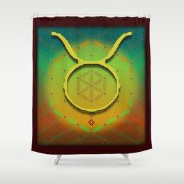 TAURUS Flower of Life Astrology Design Shower Curtain