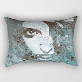 Blue Hypothermia (flower woman graffiti painting) Rectangular Pillow