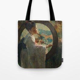 Pieter de Josselin de Jong - Japanese Girl with a Wagasa - Dutch Victorian Retro Vintage Oil Paintin Tote Bag