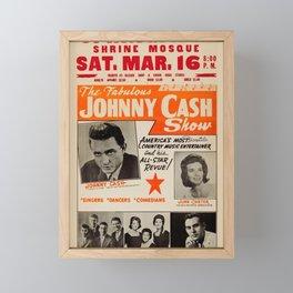 1967 Johnny Cash, Carter Family, Carl Perkins at Springfield Shrine Mosque Concert Poster Framed Mini Art Print