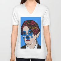 david bowie V-neck T-shirts featuring David Bowie by Arnaud Pagès