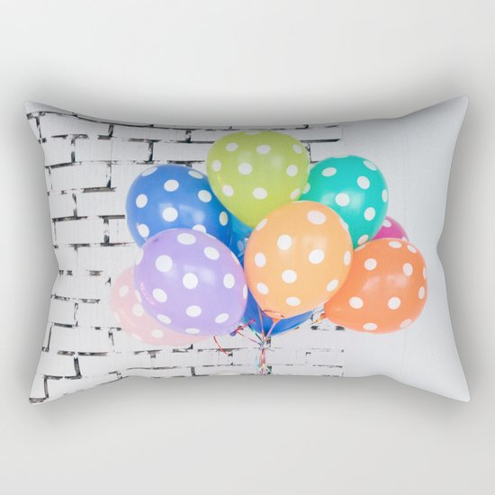 Balloon blue orange yellow green Rectangular Pillow