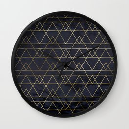 Modern Deco Gold and Marble Geometric Mountains on Navy Blue Wall Clock