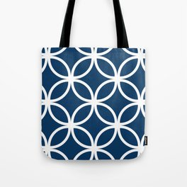 Navy Geometric Circles Tote Bag
