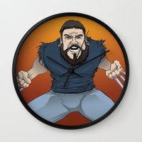chad wys Wall Clocks featuring Chad-verine by Art By Someone