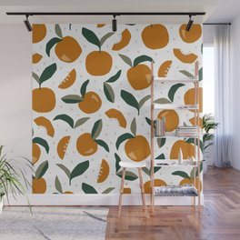 Mid Century Modern Abstract Oranges Wall Mural