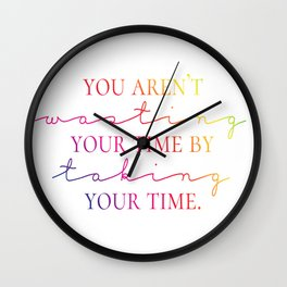 Taking Time - Rainbow Typography Wall Clock