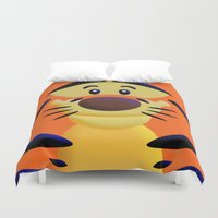 cartoons Duvet Covers featuring Cute Orange Cartoons Tiger Apple iPhone 4 4s 5 5s 5c, ipod, ipad, pillow case and tshirt by Three Second