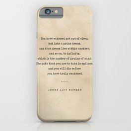 Jorge Luis Borges Quote 01 - Typewriter Quote on Old Paper - Minimalist Literary Print iPhone Case