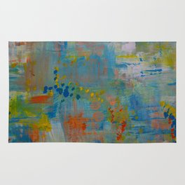Colorful Abstract Wall Art, Teal Blue yellow, Contemporary Home Decor Rug