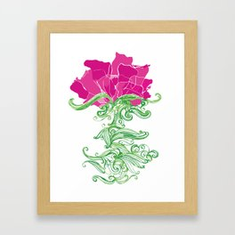 Peonie Illustration, Ink Drawing Framed Art Print