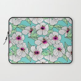 Pink & White Tropical Hibiscus Floral Pattern Laptop Sleeve