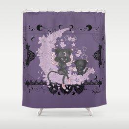 Black Cat Tsuki Shower Curtain