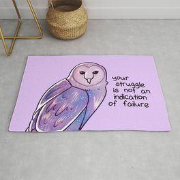 """Your Struggle is Not an Indication of Failure"" Galaxy Owl Rug"