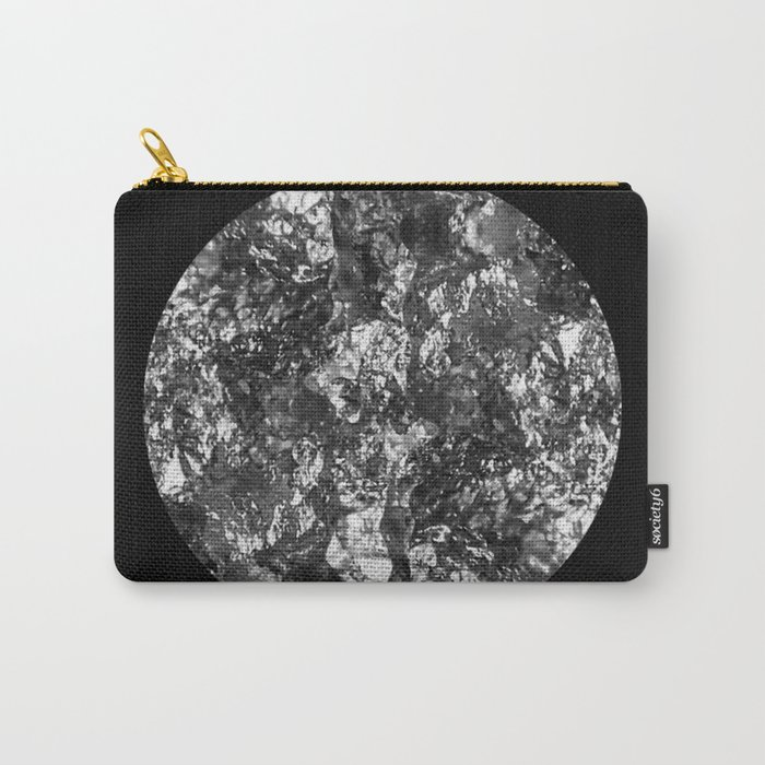 Silver Moon - Abstract, textured silver foil lunar design Carry-All Pouch
