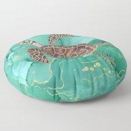 Precious Hawksbill Sea Turtle Swimming in the Emerald Ocean Floor Pillow