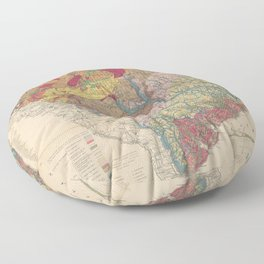 Vintage Geological Map of South Carolina (1883) Floor Pillow