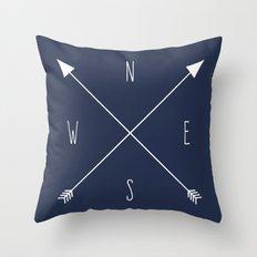 Navy Compass Throw Pillow