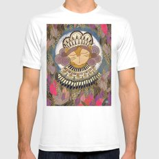 Regal Cat Lady of the Fall Harvest Moon White MEDIUM Mens Fitted Tee