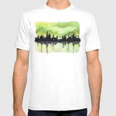London Skyline 2 Lime MEDIUM White Mens Fitted Tee