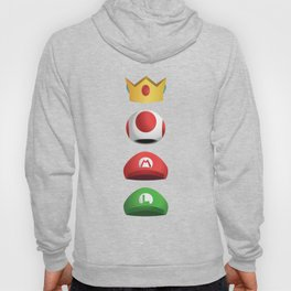 Super Mario Character Hats - White Stacked Hoody