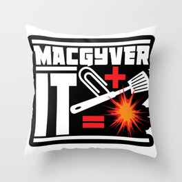 Paperclip Plus Spatula Equals Explosion Throw Pillow