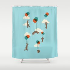 Flight of the Wiener Dogs Shower Curtain