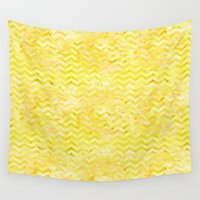 yellow pattern Wall Tapestries featuring Yellow Chevron Pattern by Aloke Design