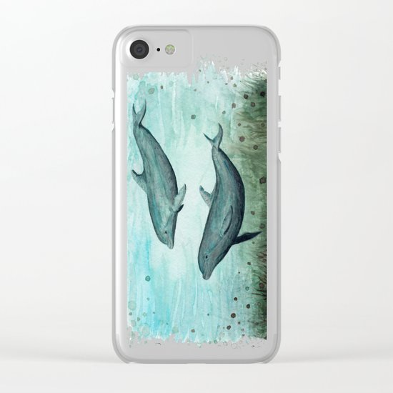 Two Inshore Dolphins ~ Watercolor Clear iPhone Case
