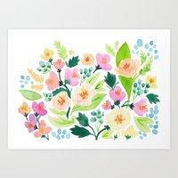 Watercolor Florals Art Print