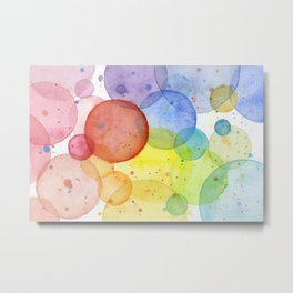 Watercolor Abstract Rainbow Circles and Splatters Metal Print