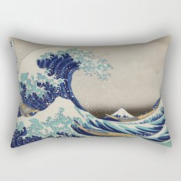 The Great Wave of Kanagawa vintage illustration for home decoration Rectangular Pillow