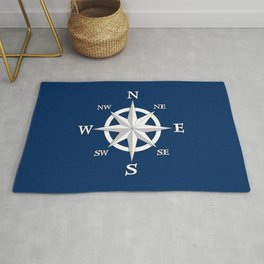 Eight Point Compass Rose, White and Navy Blue Rug